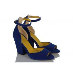 Topuklu Ayakkabı Saks Mavi Kalın Topuk