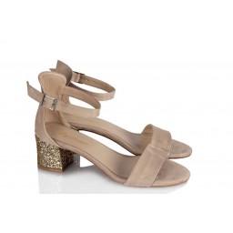 Topuklu Ayakkabı Sandalet Bej Süet Yaldızlı