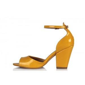 Topuklu Ayakkabı Sarı Rugan Kalın Topuk
