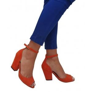 Topuklu Ayakkabı Turuncu Kalın Topuk
