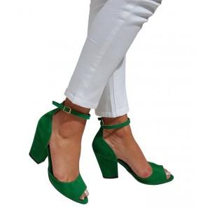 Topuklu Ayakkabı Yeşil Kalın Topuk
