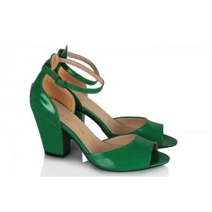 Topuklu Ayakkabı Yeşil Rugan Kalın Topuk
