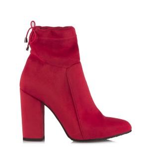 Topuklu Bayan Bot Kırmızı Süet Lastikli