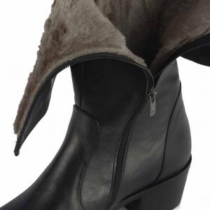 Topuklu Çizme Siyah Hakiki Deri