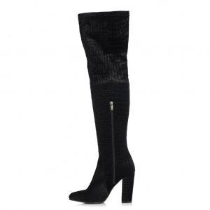 Topuklu Çizme Siyah Kadife