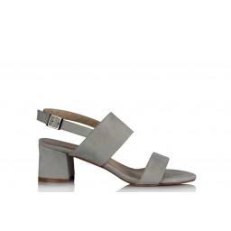 Topuklu Sandalet Ayakkabı Gri Süet