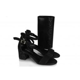 Topuklu Sandalet Ayakkabı Siyah Yaldızlı Çanta Takım