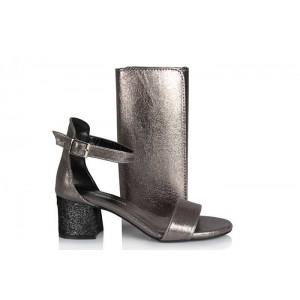 Topuklu Sandalet Füme Yaldızlı Çanta Takım