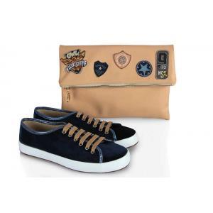Vans Ayakkabı Lacivert Armalı  Clutch Çanta Takımı