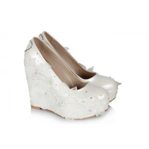 Yüksek Dolgu Topuk Düğün Ayakkabısı