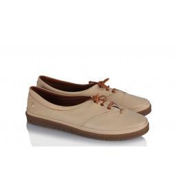 Yumuşak Rahat Ayakkabı Bej Bağcıklı Deri